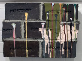 """bricks, mortar, paint, 2010, 14""""h x 20""""w x 5""""d"""