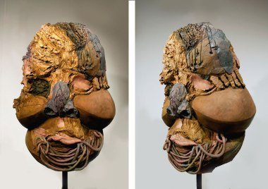 """Face #2, 2014, ceramic and oxide stains, acrylic paint, 33""""x22""""x15"""""""