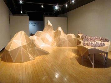 Panorama of Desire, Unfired earthenware clay, cardboard, carton tape, wood, Installation view, 2013