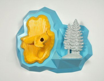 "Yellow Flight, Cast earthenware with lead glaze, reduction fired porcelain, digitally designed and hand-fabricated wood composite, paint, 22"" x 19"" x 12"", 2013"