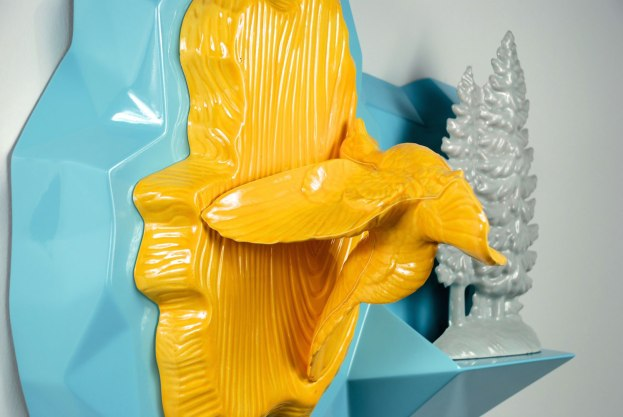 Yellow Flight, Cast earthenware with lead glaze, reduction fired porcelain, digitally designed and hand-fabricated wood composite, paint, Detail, 2013