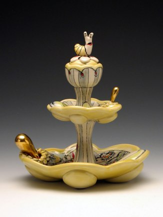 Treat Server with Snail and Spoons, Garden Series, 2012, midrange white stoneware, underglaze decoration, gold luster, 10x7.5x