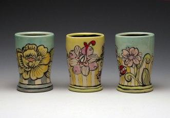 """Juice Cups, Garden Series 2012, midrange white stoneware, wheel-thrown, underglaze and glaze decoration, 3.5""""x3.5""""x5.5"""""""