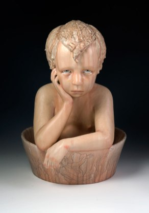 "2012, Dimensions: 16""H x 11""L x 13""D, Stoneware, resin in bowl"