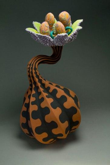 "24.5 "" x 14 "" x 14"" , Terracotta clay , handbuilt, pressmolded and slip cast with underglazes and glazes"