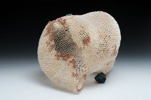 "Hand-built porcelain, copper paint, electroformed copper, 10"" x 8"" x 10"", 2015"