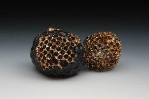"Hand-built stoneware, underglaze, glaze, luster, 2.75"" x 2.75""x 3.5"", 2015"