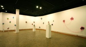 Marshall University, 2013, ceramic, vinyl, textile, thread, steel