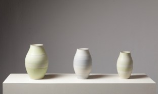"""cone 9 reduction porcelain, smallest vase- 4"""" W x 7"""" H"""