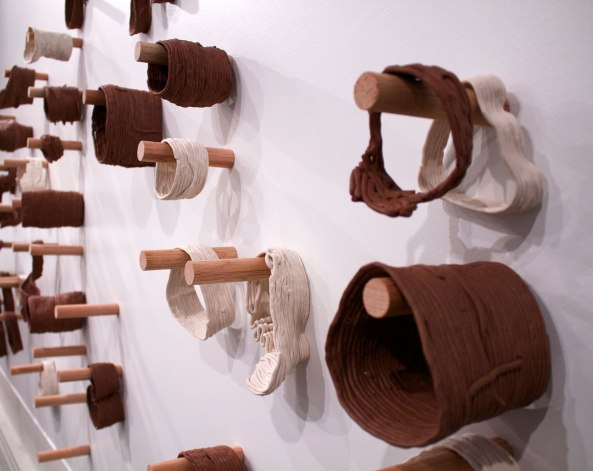 Stoneware and porcelain fired mid-range without glaze, dimensions variable