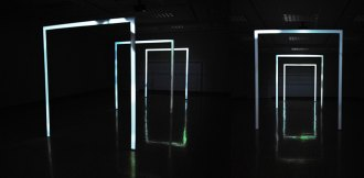 Transmittance: reconsidering landscape, custom built projection screens fabricated in same dimensions as double doorways, mapped video projection, Barr Gallery, Indiana University Southeast, New Albany, IN