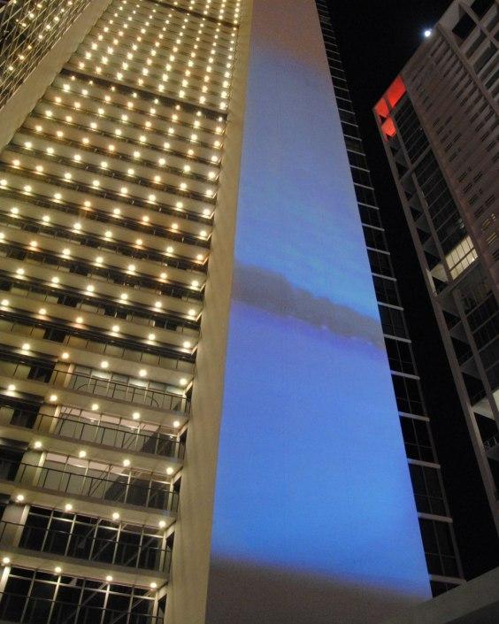Margins: Miami, mapped video projection on twenty stories of Marquis Miami, MIami, FL