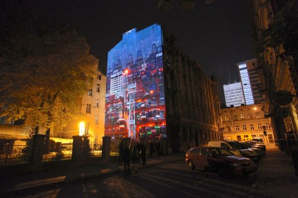 Between Here and There : Lodz, mapped video projection on historic building, Light Move Festival, Lodz, Poland
