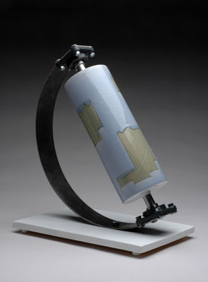 "19 x 11 x 14"", porcelain, inlay, glaze, steel, 2006"