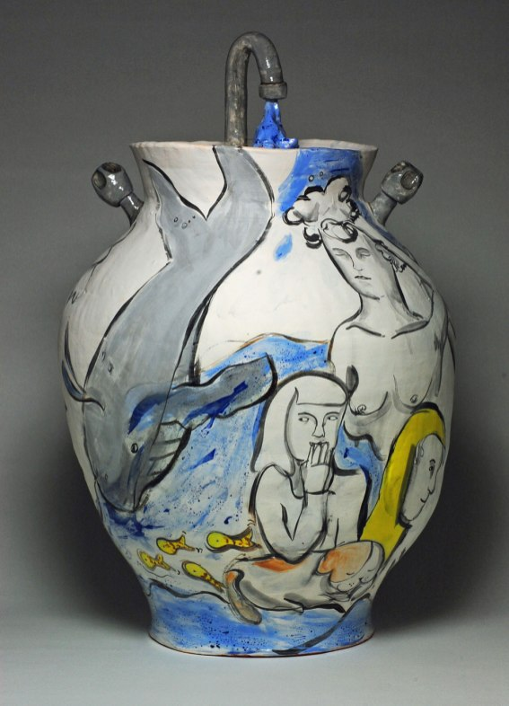 "26""x16""x16"". 2014. Coil built earthenware, slips, underglaze"
