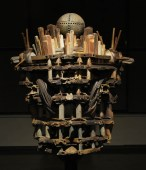 """2010, Wood Fired Ceramic and Steel Stands 7ft tall, Ceramic Element, 48"""" x 32"""" x 24"""""""