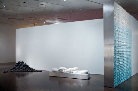 "(installation View from ""Overthrown"" exhibition at the Denver Art Museum), 2011, slip cast black porcelain, press moulded and glazed earthenware, dimensions: variable, Tile wall in foreground 13' x 9' x 18"" deep"