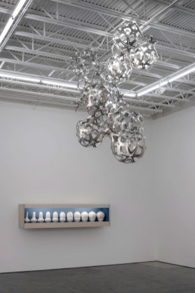 2014, water jet cut aluminum, rivets, slip cast porcelain, plywood, fluorescent light, photo credit: none