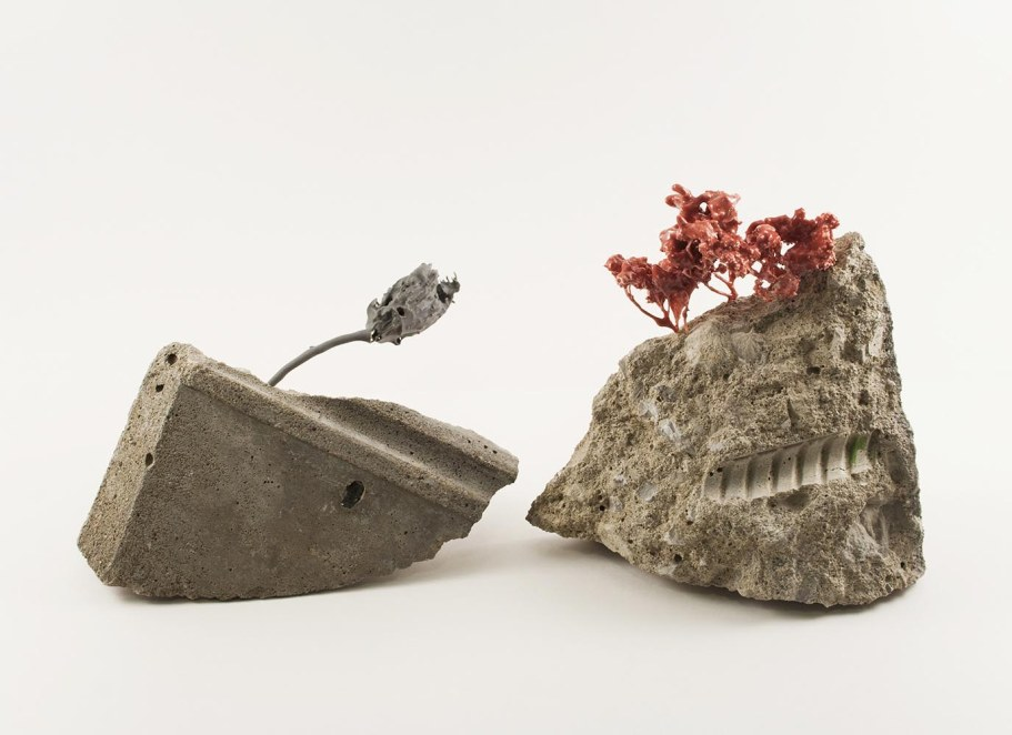 "2017, found concrete, porcelain, mixed media, 14"" x 5"" x 6"""