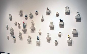 """H 6'x W 8'x D 8"""", hand built and press molded porcelain, found objects 2014"""