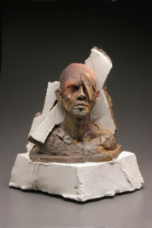 wood-fired stoneware, plaster and mixed media, 17x21x10 in
