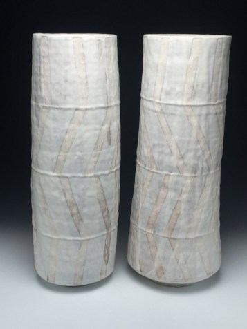 "stoneware; wheel thrown, segmented & reconstructed; cone 7; approx. H. 22"" x W. 8"" x D. 8"""