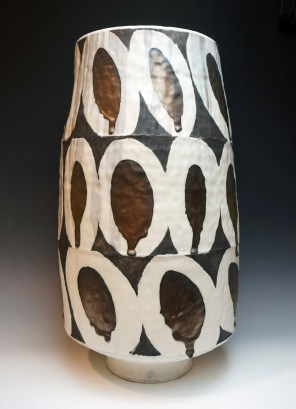 "stoneware; wheel thrown, segmented & reconstructed; cone 7; approx. H. 32"" x W. 14"" x D. 14"""
