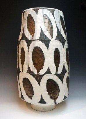"""stoneware; wheel thrown, segmented & reconstructed; cone 7; approx. H. 32"""" x W. 14"""" x D. 14"""""""