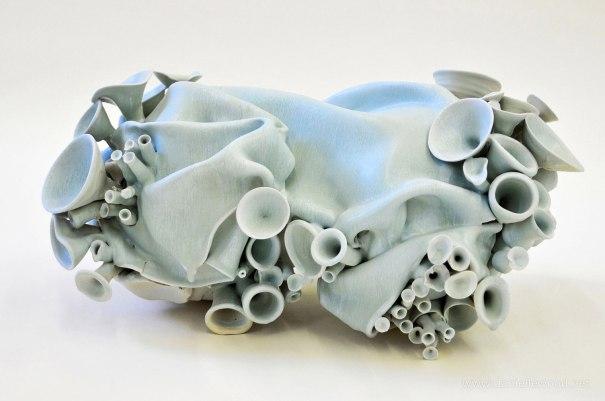 Coleman Porcelain, crystalline glaze, cone 6, 9.5 x 20 x 10 inches, 2012