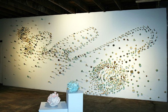 Frost, Coleman, B-mix Porcelain, crystalline glaze, cone 6, 6ft x 25ft x 4.5in, 2012