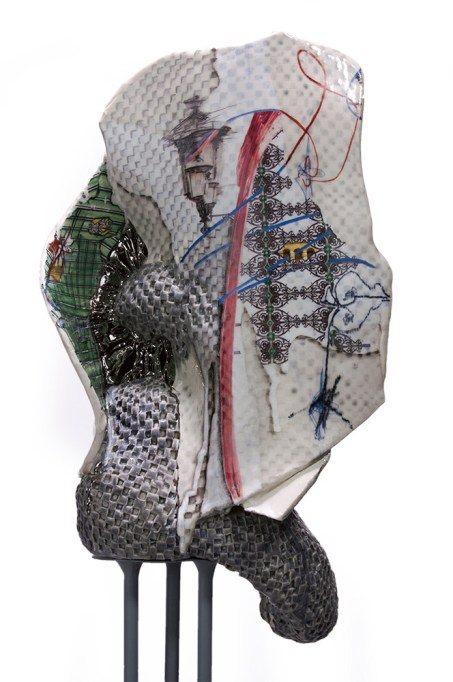"Porcelain, mixed media, 53"" x 10"" x 6"", 2018"