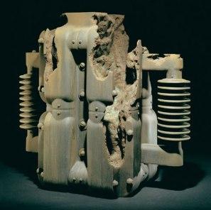 26 x 26 x 5 in., painted ceramic, 1995