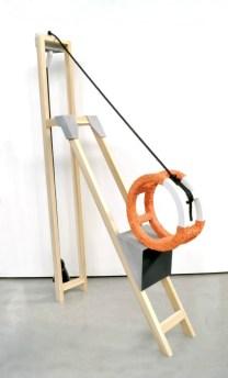Terra cotta, 06 glaze, wood & rope, Height 7.5' X 6' deep, 2014