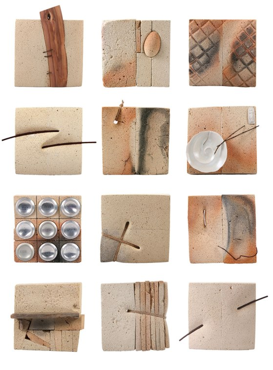 1 pcs.- 23x23x8 cm., refractory bricks, porcelain, wood, iron wire, rope, beer cans botoms, 2011