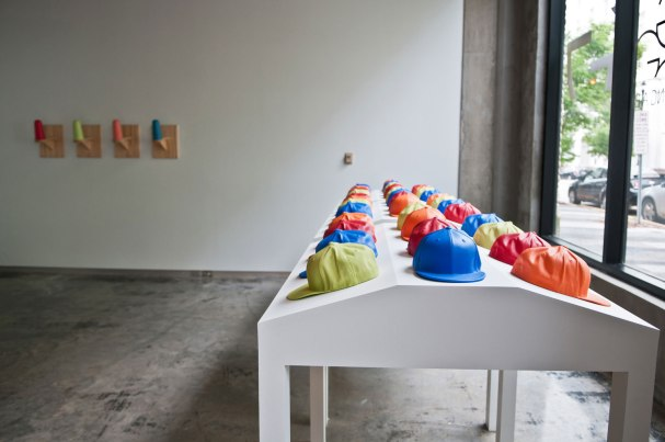 Slip-cast porcelain, underglaze, fired in an electric kiln to cone 6, cast foam, wood, audience participation, Size Varies~ 20' L x 12' W x 8' H (feet), 2014, Photo: Kristine Condon