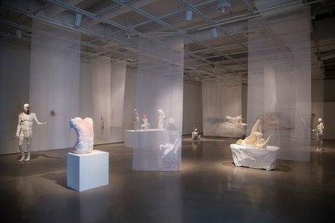 """60'-8"""" x 32'-5"""", Earthenware, Stoneware, Majolica, Hydrocal, Cold Finishes, Silk Organza, 2017"""