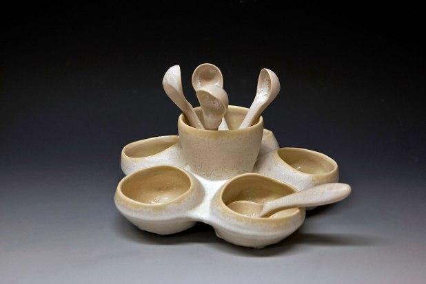 """cone six matte crystalline-glazed porcelain, 5"""" x 7"""" x 7"""""""