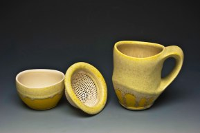 "cone six matte crystalline-glazed porcelain, 5"" x 4"" x 3"" (mug)"