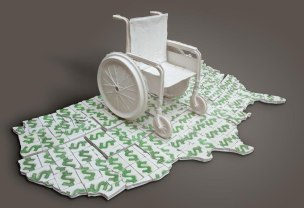 porcelain wheel chair, porcelain money titles, 6'x 3'