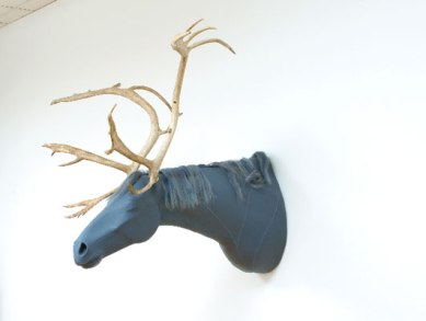 """54""""x52""""x60"""", leather, caribou antlers, human hair, sutures, 2006"""