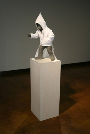 """65""""h x 16""""w x 9""""d, cement and fabric, 2007"""