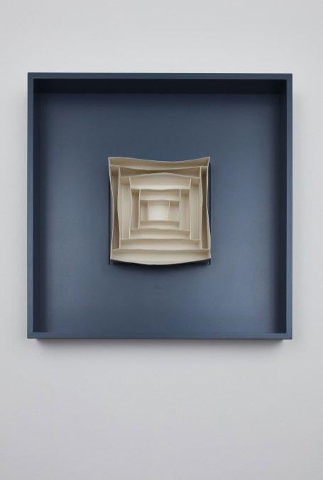 Porcelain Dimensions: H 27 x W 27 cm, Frame Dimensions: 67cm X 67cm, Material: Porcelain, Mounted in a bespoke box frame.