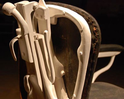 """Re-evaluated Barber Chair (detail), Porcelain, Leather, H58""""x W39""""x D41"""""""