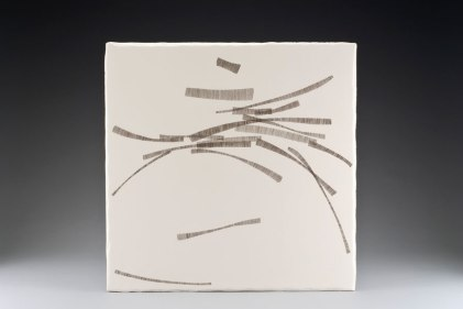 "Hexie IV, 2009, earthenware, glaze pencil, glaze, 20.5""x20.5""x2"""