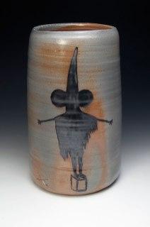 "War Crock (#getsome), ceramic, wood soda fired, 20x9x9"""