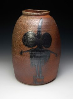 "War Crock (#shockNawe), ceramic, wood soda fired, 16x8x8"", 2013"