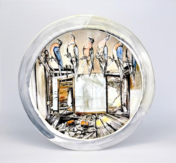 "Terracotta, slip, engobe, and glaze, 20""x 20""x 3"", 2015"