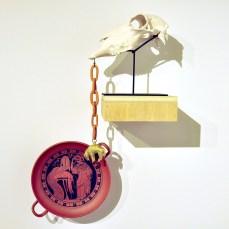 Terra cotta copy of Greek original kylix, Porcelain sheep skull, porcelain sheep pendant with gold leaf, Dimensions vary, 2016