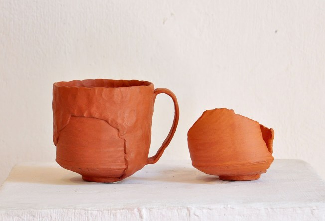 """3D Printed and pinched Terracotta, In collaboration with Bryan Czibesz, Gina Tibbott, L 4""""x W 3""""x H 3.5"""", 2015"""