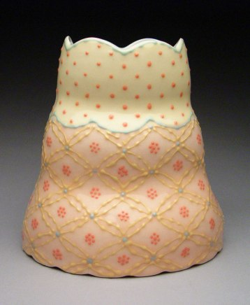 """Wheel-thrown and altered porcelain, colored slips and glaze, cone 6 - 6""""x4""""x11"""""""